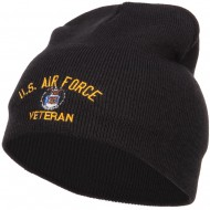 US Air Force Veteran Military Embroidered Short Beanie - Black