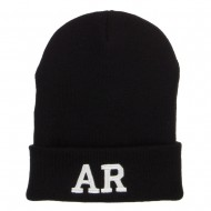AR Arkansas State Embroidered Long Beanie - Black