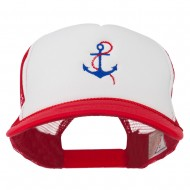 Anchor with Chain Embroidered Foam Mesh Back Cap - Red White Red