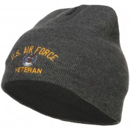 US Air Force Veteran Military Embroidered Short Beanie - Dk Grey