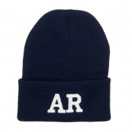 AR Arkansas State Embroidered Long Beanie - Navy