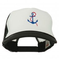 Anchor with Chain Embroidered Foam Mesh Back Cap - Black White