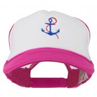 Anchor with Chain Embroidered Foam Mesh Back Cap - Hot Pink White