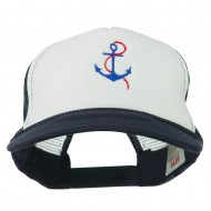 Anchor with Chain Embroidered Foam Mesh Back Cap - Navy White