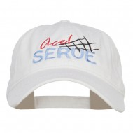 Ace Serve Volleyball Embroidered Washed Cap - White