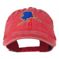 Alaska State Map Embroidered Washed Cap - Red