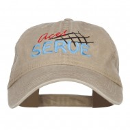 Ace Serve Volleyball Embroidered Washed Cap - Khaki