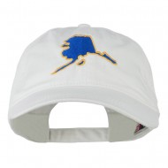 Alaska State Map Embroidered Washed Cap - White