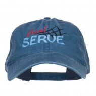 Ace Serve Volleyball Embroidered Washed Cap - Navy