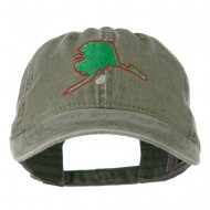 Alaska State Map Embroidered Washed Cap - Olive Green