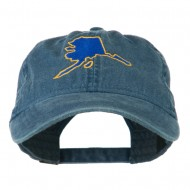 Alaska State Map Embroidered Washed Cap - Navy