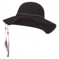 Women's Wool Leather Band Suede Rope Tie with Feather Detailed Bucket Hat - Black