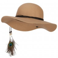 Women's Wool Leather Band Suede Rope Tie with Feather Detailed Bucket Hat - Camel