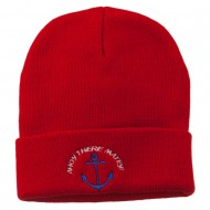 Ahoy There Matey Embroidered Beanie - Red