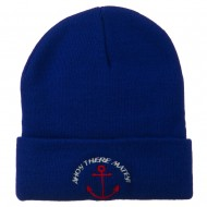 Ahoy There Matey Embroidered Beanie - Royal