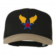 Army Air Badge Embroidered Two Tone Cap - Khaki Black