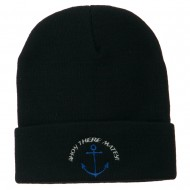 Ahoy There Matey Embroidered Beanie - Navy