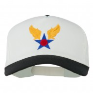 Army Air Badge Embroidered Two Tone Cap - Black White
