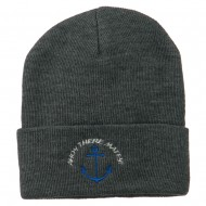 Ahoy There Matey Embroidered Beanie - Grey