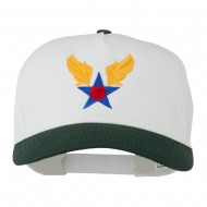 Army Air Badge Embroidered Two Tone Cap - Dk Green White