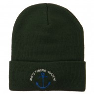 Ahoy There Matey Embroidered Beanie - Dark Green