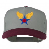 Army Air Badge Embroidered Two Tone Cap - Maroon Grey