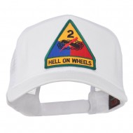 US Army 2nd Armored Division Patched Mesh Back Cap - White