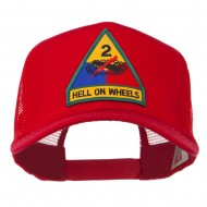 US Army 2nd Armored Division Patched Mesh Back Cap - Red