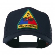 US Army 2nd Armored Division Patched Mesh Back Cap - Navy