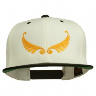 Abstract Wings Design Embroidered Snapback Cap - Natural Black