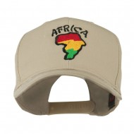 Map of Africa with Word Embroidered Cap - Khaki