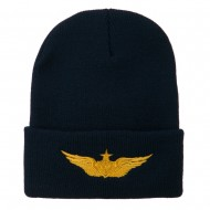 Aircraft Crewman Embroidered Long Beanie - Navy