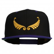 Abstract Wings Design Embroidered Snapback Cap - Black Purple