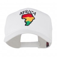 Map of Africa with Word Embroidered Cap - White