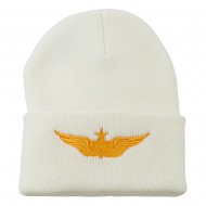 Aircraft Crewman Embroidered Long Beanie - White
