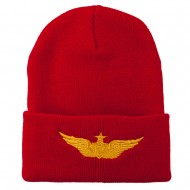 Aircraft Crewman Embroidered Long Beanie - Red