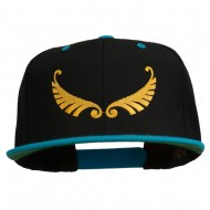 Abstract Wings Design Embroidered Snapback Cap - Black Teal