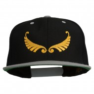 Abstract Wings Design Embroidered Snapback Cap - Black Silver