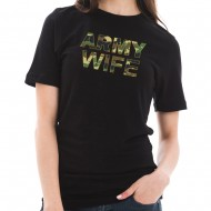 Army Wife Camo Graphic Design Short Sleeve Cotton Jersey T-Shirt - Black