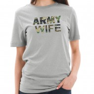 Army Wife Camo Graphic Design Short Sleeve Cotton Jersey T-Shirt - Heather Grey