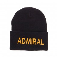Admiral Military Embroidered Long Beanie - Black