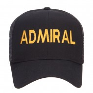 Admiral Military Embroidered Mesh Cap - Black