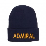 Admiral Military Embroidered Long Beanie - Navy
