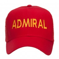 Admiral Military Embroidered Mesh Cap - Red