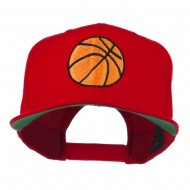 Basketball Embroidered Flat Bill Cap - Red
