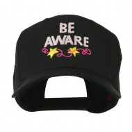Be Aware Cancer Awareness Embroidered Cap - Black