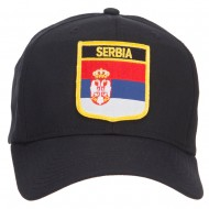 Serbia Flag Shield Patched Cap - Black