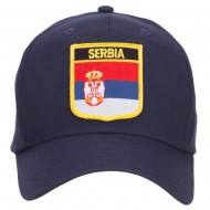 Serbia Flag Shield Patched Cap - Navy