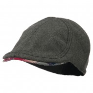 Boy's Plaid Brim Wool Ivy Cap - Grey