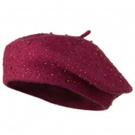 Beads Decoration Wool Beret - Hot Pink